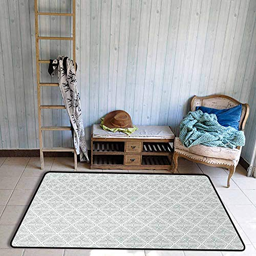 (Door Rug Indoors Vintage Classical Art Nouveau Style Floral Pattern with Renaissance Inspirations Quick and Easy to Clean W59 xL71 Pale Sage Green White)