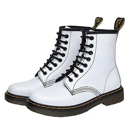 Heels Ankle Lining White Ladies Low Retro Fur Women's VOCOSI Combat Toe 608 Leather Cap Boots w6qF7xYp