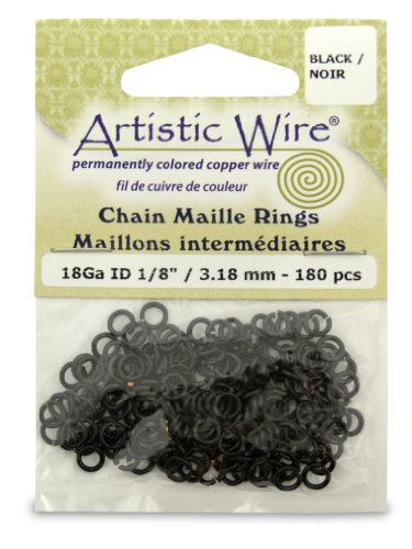 Artistic Wire 18-Gauge Black Chain Maille Rings, 1/8-Inch Diameter, 180-Pieces ()
