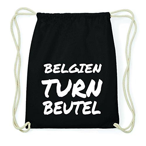 JOllify BELGIEN Hipster Turnbeutel Tasche Rucksack aus Baumwolle - Farbe: schwarz Design: Turnbeutel alxDwUMt