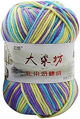 Ogquaton Lana de algodón de Leche, 50 g Chunky Colorido Tejido a ...