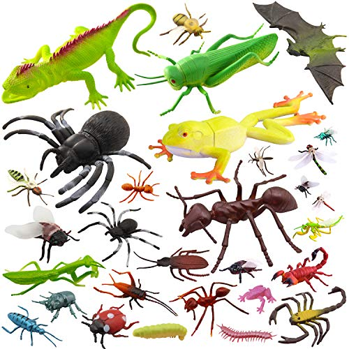"Pinowu 27pcs Bug Toy Figures Playset for Kids Boys, 2-6"" Fake Bug Insects - Fake Spiders, Cockroaches, Scorpions, Crickets, Lady Bugs, Butterflies and Worms for Education and Christmas Party Favors"