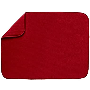 S&T 440500 Microfiber Dish Drying Mat, X-Large, 18 by 24-Inch, Racer Red