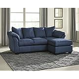 Flash Furniture Signature Design by Ashley Darcy Sofa Chaise in Blue Microfiber
