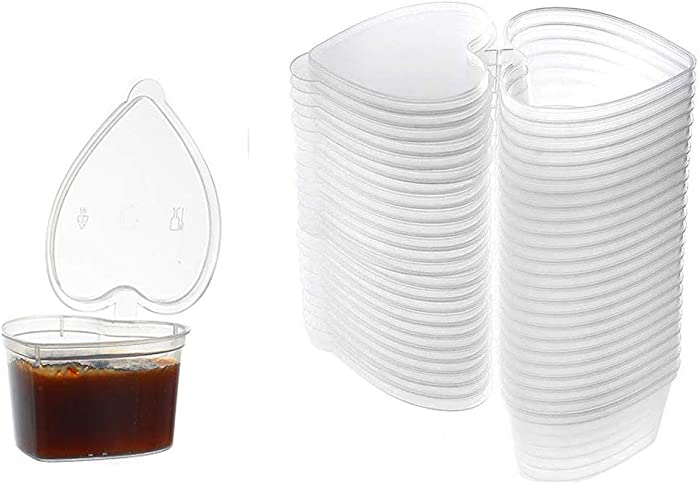 50 Pcs Plastic Sauce Cups Heart-Shaped Souffle Cups Heart Shaped Storage Containers Plastic Box with Lids Sauce Cups Disposable Reuseable Seasoning Cup with Lids(Clear, 1.5 Ounce)
