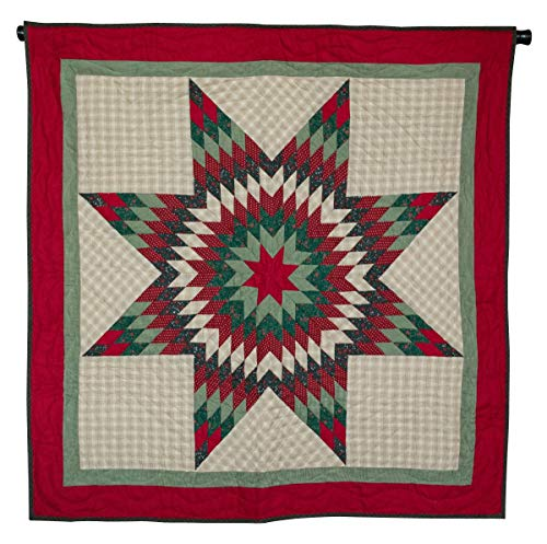 Retro Barn Christmas Lone Star Quilted Wall Hanging Mini Quilt