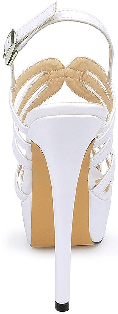 Salabobo 817-29 Womens OL Bride Comfort Work Wedding Job Nightclub Open Toe Platform Heeled PU Sandals