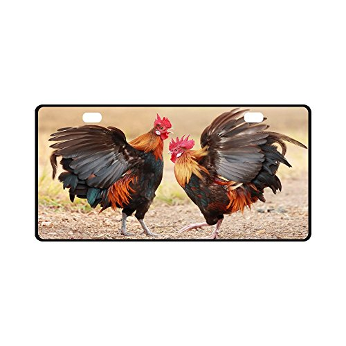 Custom Unique Design Cool Colorful Rooster Durable License Plate Frame Metal Personalized Car Tag 11.8 X 6.1 inches (2 Holes)
