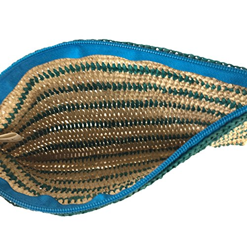 Kylie Y Raffia Mar Crochet Striped Clutch Sol Tassel Natural Slim Turquoise AqPPOw1