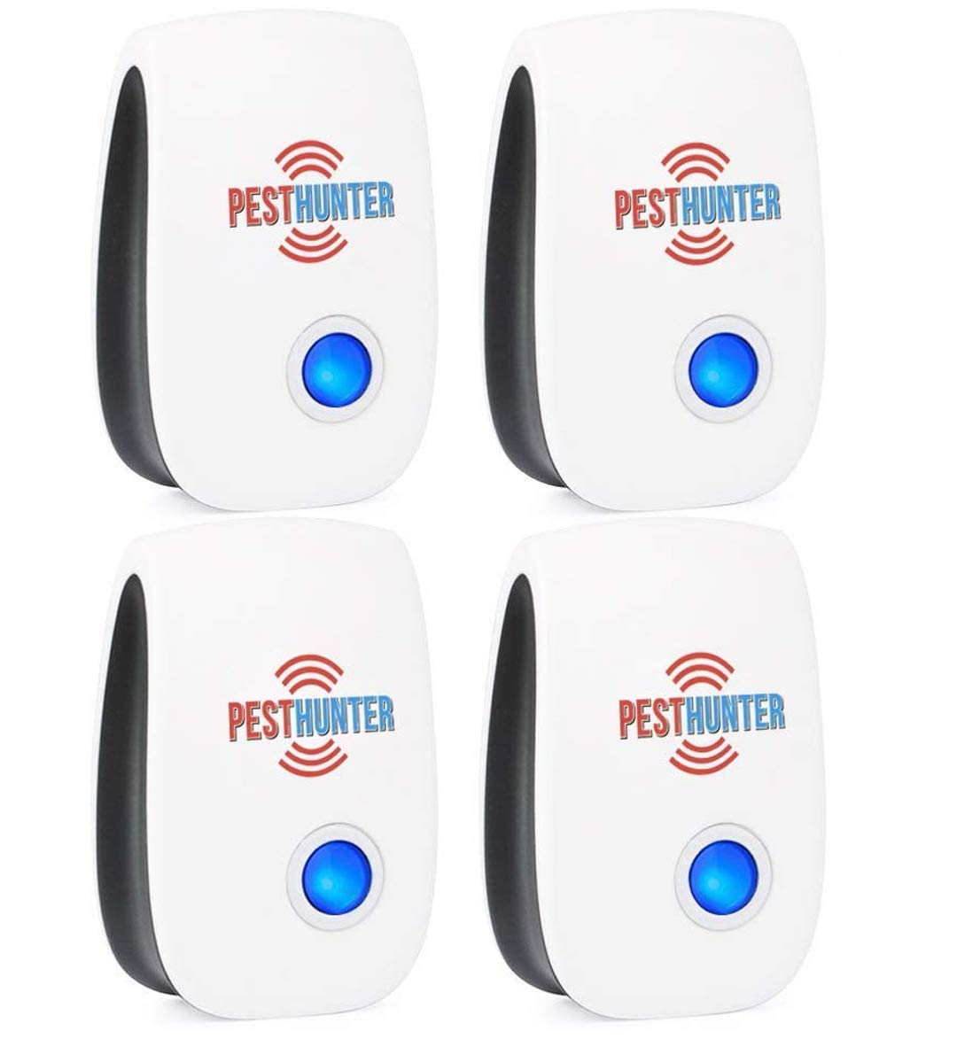 Ultrasonic Pest Repeller Plug In - 4 Eco Pack Repellent - Best Pest Defender Electronic Control - Indoor Rеpеllent Mouse Bed Bugs Mosquitoes Spiders Roaches Insect Ants Rats Cockroaches by PestHunter