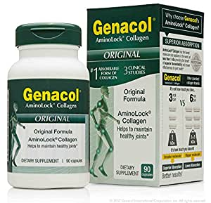 GENACOL Collagen (90 Capsules) Joint Care Supplement and Joint support for Back, Knees and Hands. CERTIFIED Non-GMO, Pasture Raised, Grass-Fed collagen hydrolysate protein.