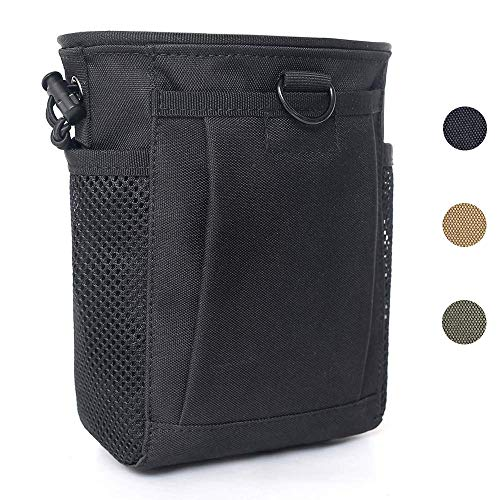 Tactical Molle Drawstring Magazine Dump Pouch, Adjustable Military Utility Belt Fanny Hip Holster Bag Outdoor Ammo Pouch