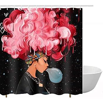 Amazon Com Lb African Girl Shower Curtain 3d Printing African American Black Art Shower