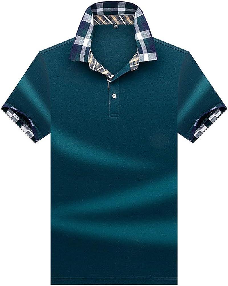 Polo Hombre Manga Corta Camiseta Casual 100% Puro Algodón - Cian ...