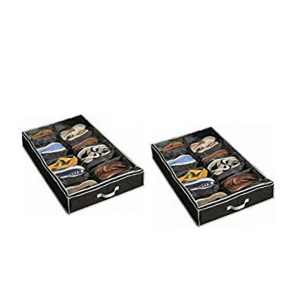 Richards Homewares Gearbox Sixteen Cell Shoe Organizer-Black//Grey