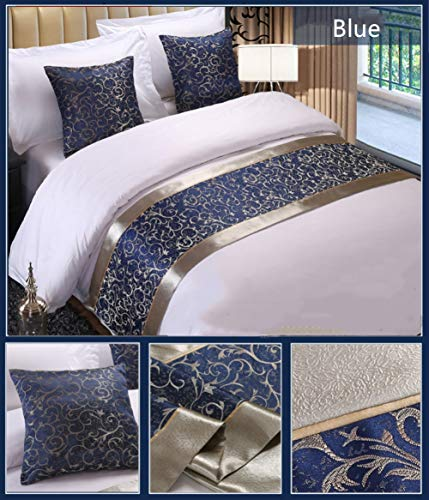 Twelve Blue Floral Bed Runner Throw Bedding Luxury Hotel Bedspreads Single Queen King Bed Cover Towel (2pcs Pillowcase) (Single Throws Bed)