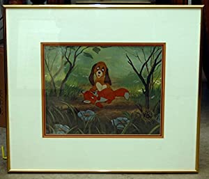 """Disney Fox And The Hound Cel """"Todd And CooperRARE Framed"""