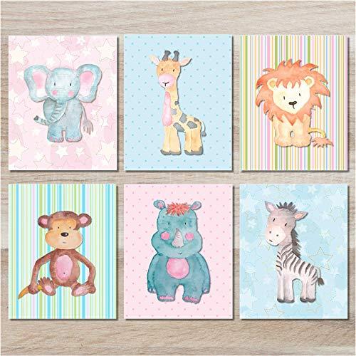 Baby Safari Animals Art Prints - Nursery Wall Decor - (Set of 6) - 8x10 - Unframed ()