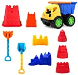 10 Piece Sand Castle Building Kit with Dump Truck - Beach Toys for Kids
