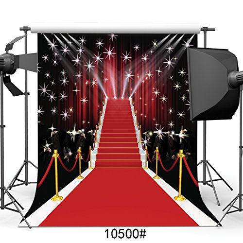 SJOLOON 10x10ft Red Carpet Vinyl Photography Backdrop Customized Photo Background Studio Prop 10500]()