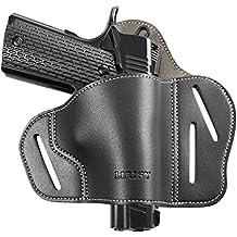 LIRISY 1911 Holster, Outside the Waistband Leather Gun Holster - Open Carry OWB Belt Holster Fits 1911 Style Handguns - Colt, Kimber, S & W, Sig Sauer, Remington, Ruger, Taurus & More Pistols