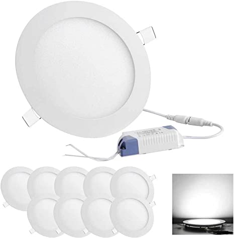 10pcs 12W Round LED Recessed Ceiling Panel Down Light Bulbs