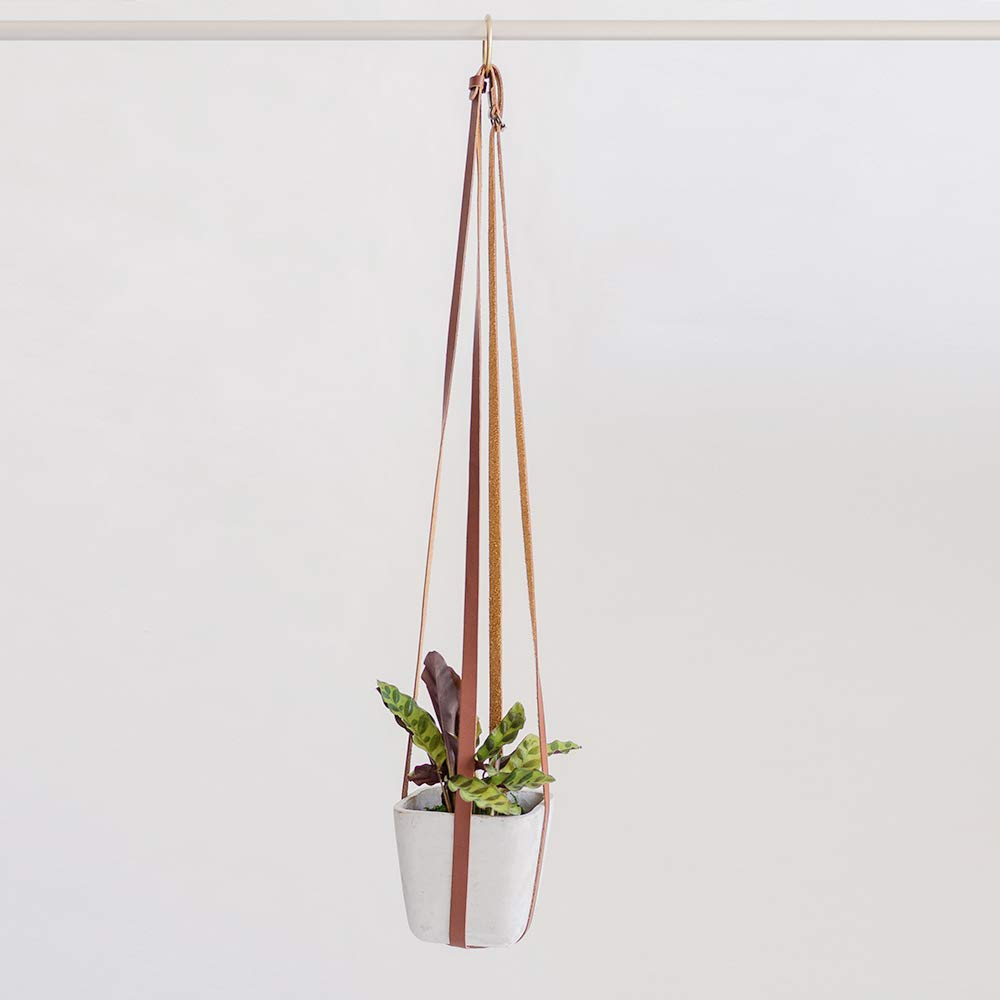 Plant Hanger Hanging Planters for Indoor Plants Adjustable Vegan Leather in Beige or Brown Planter Holder for Pot or Basket to Hang from Wall Mahogany Brown