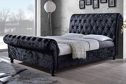 chesterfield castello classy modern bed frame sleigh style fully upholstered designer bed in crushed velvet or chenille fabric 4ft 6 double - Designer Bed Frames