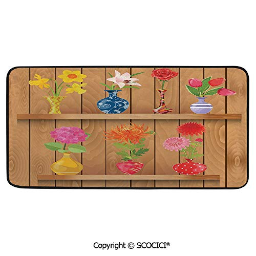 (Rectangular Area Rug Super Soft Living Room Bedroom Carpet Rectangle Mat, Black Edging, Washable,Daffodil,Glass Vases with Colorful Flowers on Wooden Shelves with,39