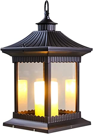 Luz vela al aire libre china IP65 Linterna césped prueba lluvia Alto brillo Cristal transparente E14 Lámpara pie césped Césped Aluminio Luz caballo Jardín Patio Paisaje Farola [Clase energética A ++]: Amazon.es: