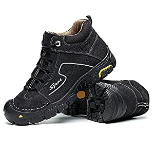RAINSTAR Men's Cowskin Outdoor Trekking Hiking Shoe Warm Lining Walking Sneaker Black 7.5