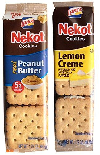 Lance Nekot Cookies Variety Flavors Peanut Butter & Lemon Creme (60 / 1.72-Ounce 6-Cookies Packs - 40 packs of Peanut Butter & 20 packs of Lemon Creme)