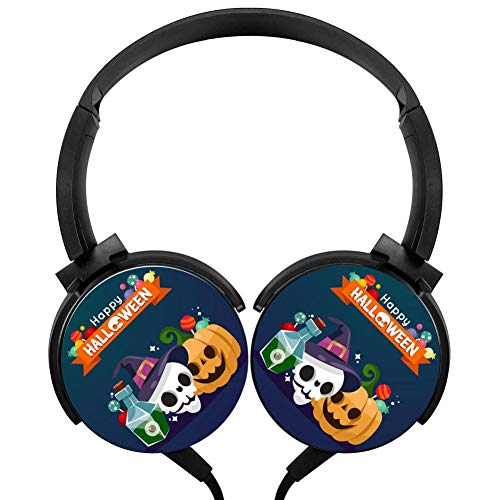 Happy Halloween Witch Pumpkin Wired Headphones Stereo Subwoofer Headphones Lightweight Portable Headphones, Black