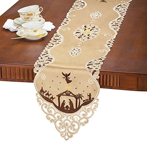 Collections Etc Nativity Elegant Gold Christmas Table Linens, Runner