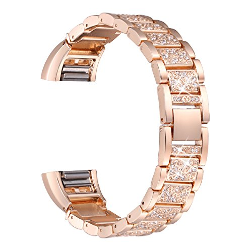 bayite For Fitbit Charge 2, Replacement Metal Bands with Rhinestone Fitbit Charge2 Bling Bands Rose Gold Bracelet by bayite