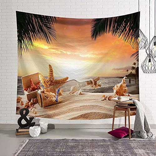 YOMIA Ocean Beach Tapestry Wall Hanging Palm Coconut Tree Drifting Bottle Tapestry Wall Art Bohemian Hippie Tapestries for Bedroom Living Room Dorm Decor 80x60inch