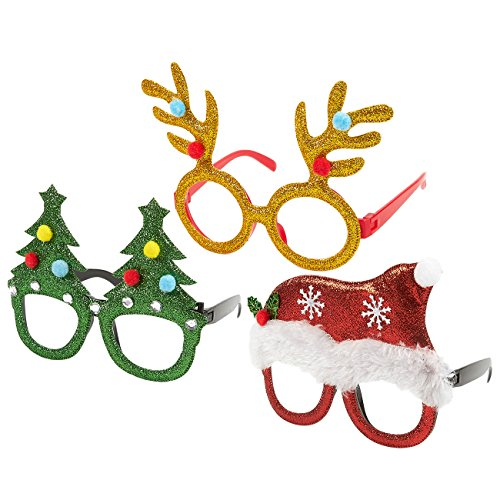 3-Pack Christmas Glasses - Novelty Party Eyeglasses, Xmas Holiday Accessories, 3 Assorted Designs, Red, Green, and - Eyeglasses Christmas