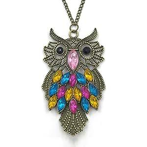 Antique Alloy with Colour Crystal Owl Long Prendant Bronze Necklace~*~