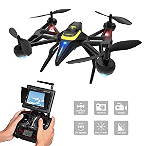 Tomzon F185DH Drone with Camera & Screen, New Generation FPV RC Quadcopter with Altitude Hold Function, Headless Mode, 2MP HD Camera and 5.8Ghz FPV LCD Screen Monitor