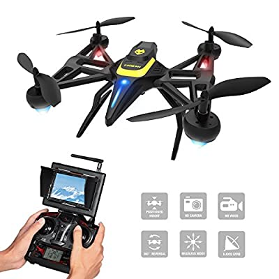 Tomzon F185DH Drone with Camera & Screen, New Generation FPV RC Quadcopter with Altitude Hold Function, Headless Mode, 2MP HD Camera and 5.8Ghz FPV LCD Screen Monitor by Tomzon