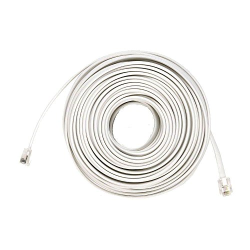 50 Ft 4C Telephone Line Extension Cord Cable Foot for any Phone, Modem, Fax Machine, Answering Machine, Caller ID (White)