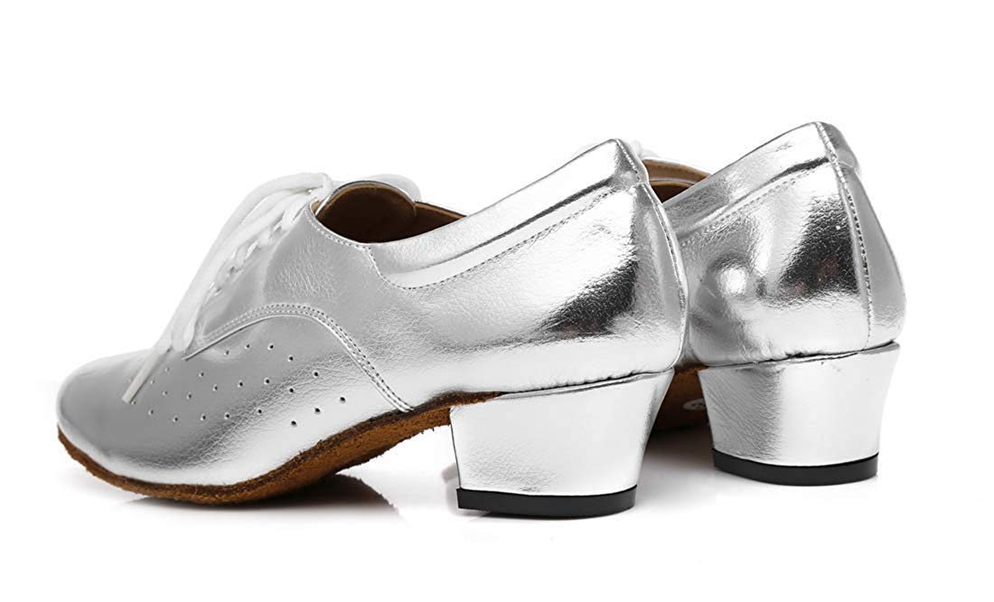 HhGold Damen Lace-up atmungsaktiv Block Low Heel Ballroom Latin Latin Latin Dance Schuhe Silber UK 2 (Farbe   - Größe   -) 4943e9