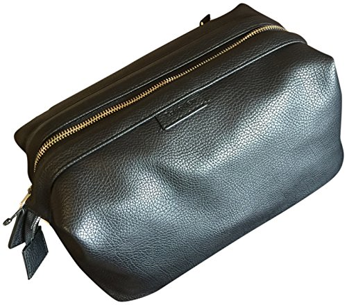 Logo Soft Leather - Calvin Klein Logo Soft Leather Cosmetic Toiletry Bag Case Extra Large Black