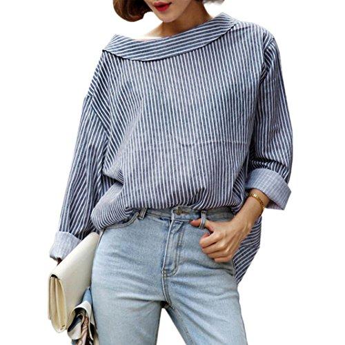 [해외]뜨거운 판매! 가을 블라우스, Canserin 여성 패션 파란 줄무늬 긴팔 셔츠 미국 4-10/Hot Sale!Autumn Blouse,Canserin Women Fall Fashion Blue Striped Long