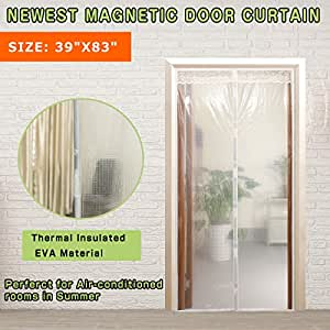 """Transparent Magnetic Thermal Insulated Door Curtain Enjoy Your Cool Summer For Air Conditioning Room/Kitchen, Keeping Out Draft And Cold Air Screen Door Auto Closer Fits Doors Up To 36"""" x 82""""MAX"""