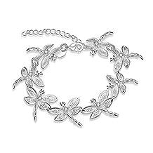 Aokarry Women Men Wedding Bracelet Bangle Copper Dragonfly Silver Length 7.2 in