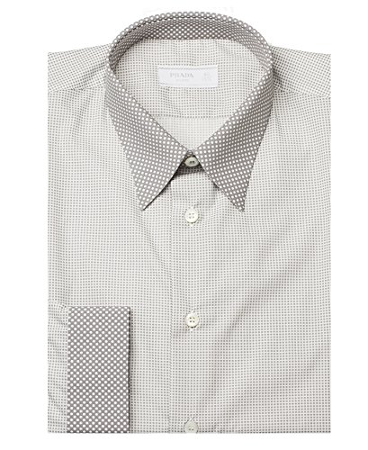 Prada Men's Contrasting Pointed Collar Polka Dot Cotton Dress Shirt - Clothes Prada Men For