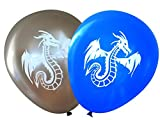 Nerdy Words Dragon Balloons (16 pcs) (Blue & Silver)