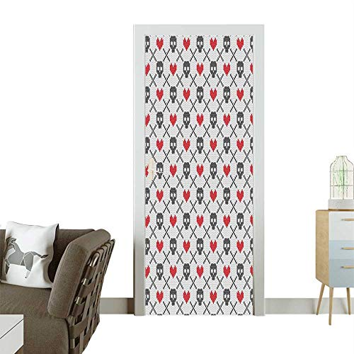 - Door Sticker Wall Decals Skulls and He Stitch Knitted Pattern Easy to Peel and StickW38.5 x H79 INCH