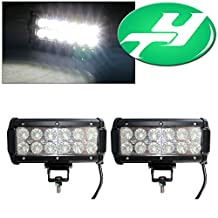 YINTATECH 2X 36W 6 Inch Dual Row 12 LEDs Flood Work Light Bar For ATV 4x4 Jeep Offroad Tractor Marine Truck ATV SUV Boat Driving Lamp